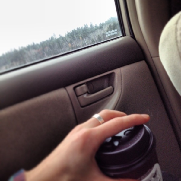 Car ride with some students (and coffee).