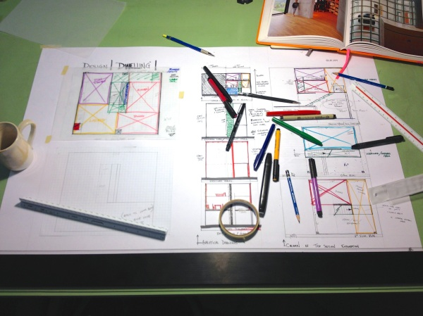 "Designing on large format (24"" x 36""). Spread of drawing and analytical diagrams."